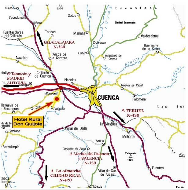 Plano de acceso de Hotel Finca Rural La Villa Don Quijote
